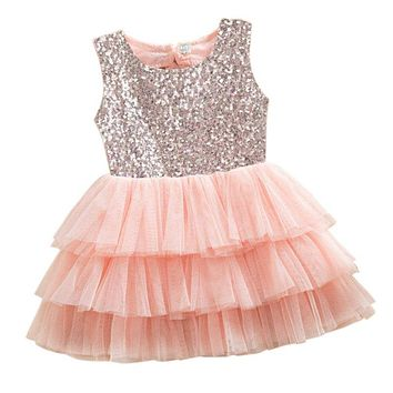 Baby Girls Dress Summer Layered Tutu Dressed Kids Sleeveless Back Hole Bows Sequined Dresses Children Clothing LH6s