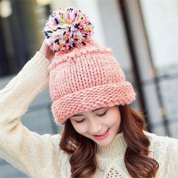5 Colors Kawaii Women Beanies Autumn And Winter Female Hats Hot Selling The Knitting Ball Cap Hat Casual Hats For Women