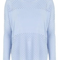 Pointelle Panelled Top - Pale Blue