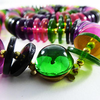 Pink Purple Green Disk Beads Necklace Jelly Life Saver Plastic& Gold Tone Beaded Matinee 26 Inch Length Mod Vintage 1970s 1980s Retro Style