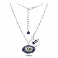 Seattle Seahawks Silver and Crystal Necklace Jewelry. NFL Jewelry