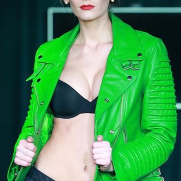 WOMEN MOTO JACKET GREEN