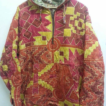 Sale Vintage Unkworn Reversible Neon Abstrac Geometric Multicolour Style Hip Hop Bomber Jacket