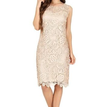 Short Sleeveless Formal Lace Cocktail Dress