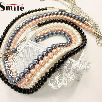 Simple Fashion Sweet Girls High Quality Women's Belt Lady Candy Color Pearl Waist Chain