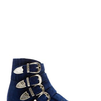Toga Pulla Blue Suede Western Buckle Boots