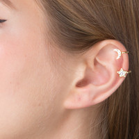 Moon and Star Diamond Clip ear Cuff