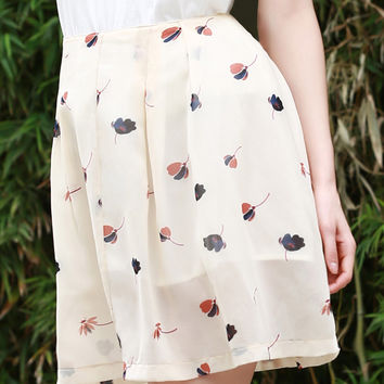Beige Buttoned Floral Print A Line Skirt
