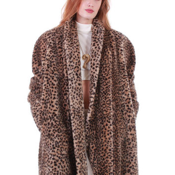 80s Vintage Faux Fur Swing Coat Plush Cheetah Spotted Animal Print Oversized Shawl Collar A - Line Club Kid Retro Glamorous Plus Size XL 1X