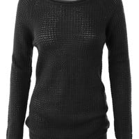 LE3NO Womens Casual Round Neck Waffle Knit Pullover Sweater Top