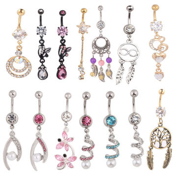Mix Different Style Body Piercing Jewelry Stainelss Steel 15pcs/lot Charm Sexy Dangle Barbell Earring Navel Belly Button Ring