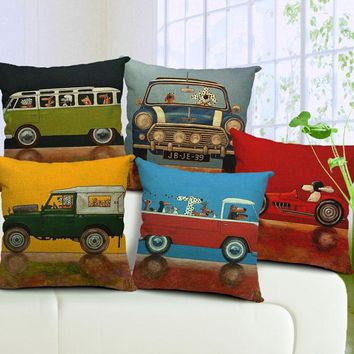 Vintage Car style Decorative Linen Throw pillow Cushion Covers