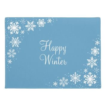 Snowflakes Blue White Winter Doormat