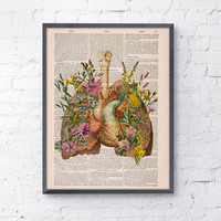 Flowery Lungs and heart human Anatomy Print . Anatomy art, love art, human anatomy, science & anatomy art, wall decor art print BPSK099