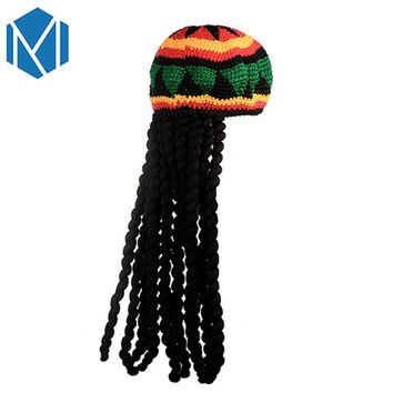 M MISM New Fashion Men Jamaican Rasta Braid Bob Marley Wig Men's Hat Knitted Hat Multicolor Tassel Hair Accessories Headwear