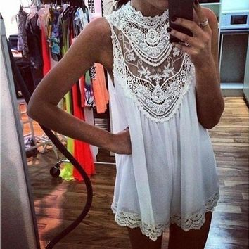 MDIGUX5 HIGH COLLAR LACE WHITE DRESS