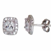 14k white gold layer on Princess Cut Brilliant CZ 925 Sterling Silver Stud Earrings