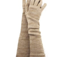Knitted long gloves with fingers, Colorful gray brown wool gloves, elegant evening gloves, sand ladys arm warmers, hand warmers, accessories
