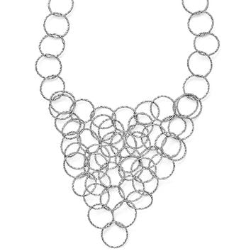 Textured Multi Circle Collar Necklace in Sterling Silver, 20 Inch