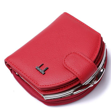 2016 Fashion New Brand Women Coin Purses Cowhide Leather Red Small Wallets Coins Money Bag Hobos Design Sac Femme Wallet Purse
