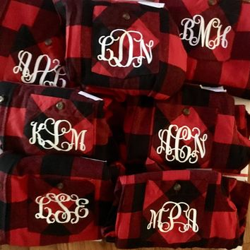 Monogram Flannel Shirt, Buffalo Plaid Flannel Shirt