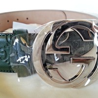 New Auth Gucci Interlocking GG Buckle Guccissima Leather Belt Green 38in /95cm