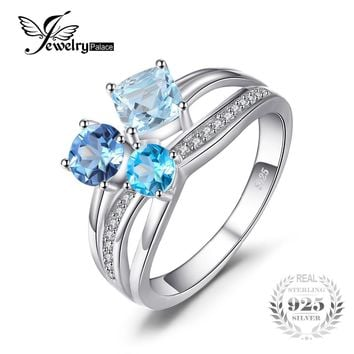 Ring 1.7ct Genuine Multi London Blue Topaz 3 Stones Genuine 925 Sterling Silver