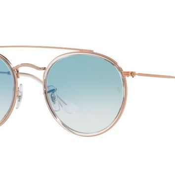 NWT Ray-Ban Brow Bar Bronze Metal Clear Blue Gradient RB3647N Round Sunglasses