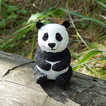 Panda Bear Figurine sculpture, Panda handmade of clay, Black and White Bear, Animal Figurine, bear totem, panda miniature, panda animals