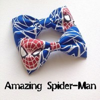 Spiderman glow in the dark handmade fabric hair bow from Bowlicious Divas Bowtique