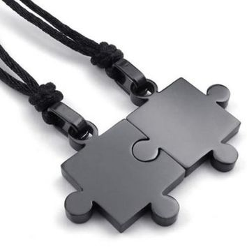 KONOV 2pcs Mens & Womens Couples Stainless Steel Puzzle Pendant Love Necklace Set, Black
