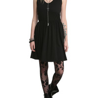 Black Lace Skull Applique Dress