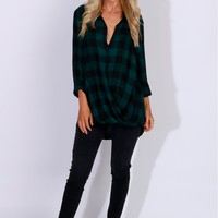 Long Sleeve Plaid Wrap Top Green
