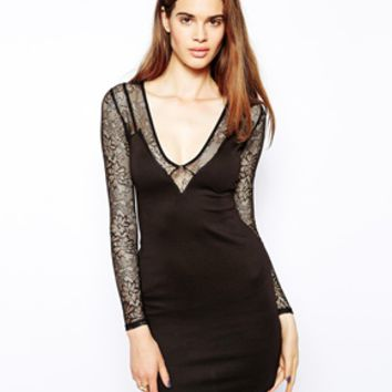 Oh My Love Plunge Dress with Lace Sleeves - Black