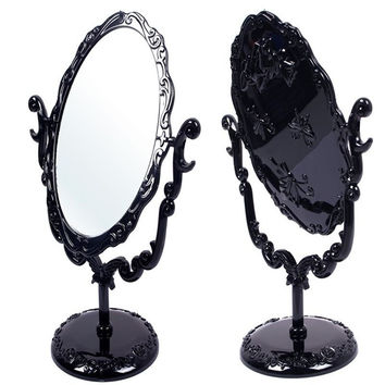 Makeup Desktop Rotatable Gothic Small Size Rose Stand Compact Mirror Black Butterfly Free Shipping