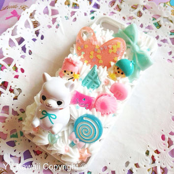 Alpacasso alpaca Kawaii Decoden Phone Case for IPhone 4/4s 5 Samsung Galaxy S2 S3 S4 Mini