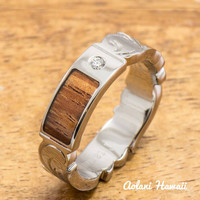 Hand Engraved Titanium Ring with Diamond Setting and Hawaiian Koa Wood Inlay (6mm width, Cutout Edge, Flat Style)