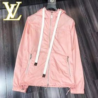 LV Louis Vuitton Hooded Zipper Cardigan Sweatshirt Jacket Coat Windbreaker Sportswear Pink
