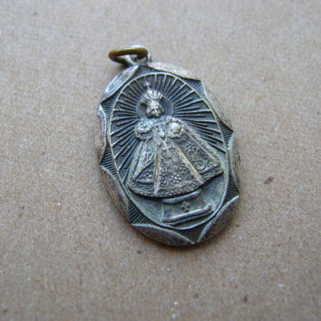 The Miraculous Infant of Prague - Sterling Silver Religious Medal - Antique Religious Medal