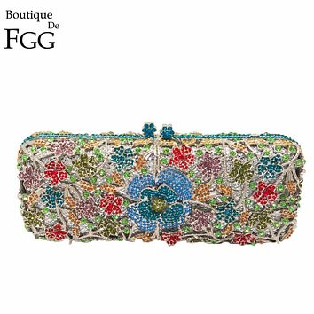 Women Hollow Out Multi Flower Crystal Evening Wedding Dinner Party Box Clutch Handbag Purse Silver Metal Hardware Clutches Bag