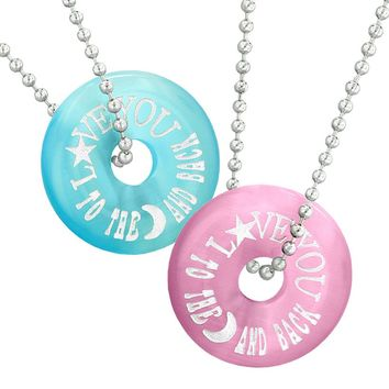 Love You to the Moon and Back Best Friends Couples Amulets Blue Pink Simulated Cats Eye Necklaces