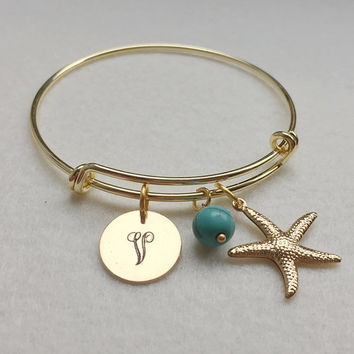 Starfish Bracelet, Initial Starfish bracelet, Gold Starfish bracelet, Personalized Starfish bracelet, Starfish bangle bracelet, Gift for mom