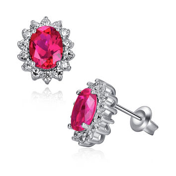 Sterling Silver 2.5ct Oval Ruby Stud Earrings