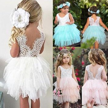 Children Girl Lace Princess Sleeveless Sundress Toddler Kids Baby Girls Lace Dress Party Prom Bridesmaid Party Pageant Dresses