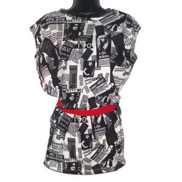 Newspaper Print Fashion Tunic with Red Waist Tie Junior Clothes Large