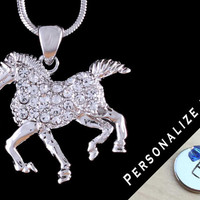 """Clear Swarovski Crystal Horse Silver Rhodium Charm Pendant Hand Stamped Initial Birthstone & 16"""", 18"""" or 20"""" Necklace"""
