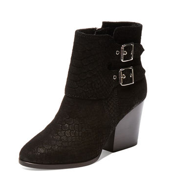 Python Embossed Suede Bootie