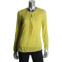 Twelfth St By Cynthia Vincent Womens Silk Textured Henley Top