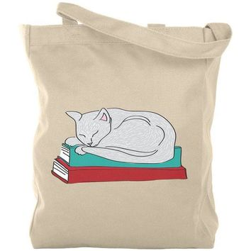 DCCKJY1 Bookworm Good Book Kitty Cat Canvas Tote Bag