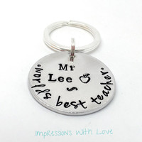 Personalised teacher gift- Worlds best teacher - teacher gift - hand stamped keychain - thank you teacher -gifts for teacher- end of school